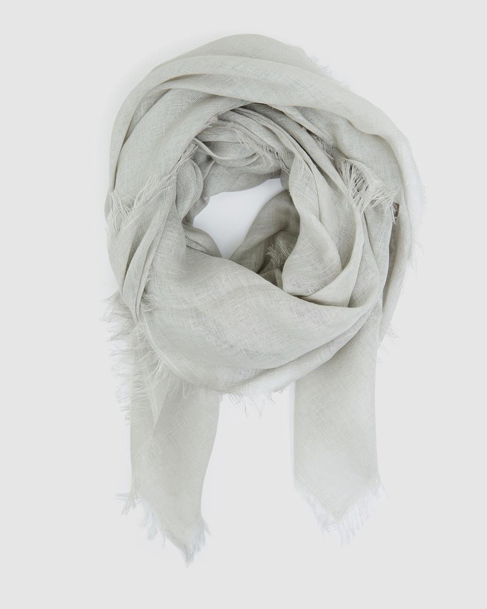 Cloth & Co. Hand Loomed Linen Scarf Scarves Gloves Winter Fog