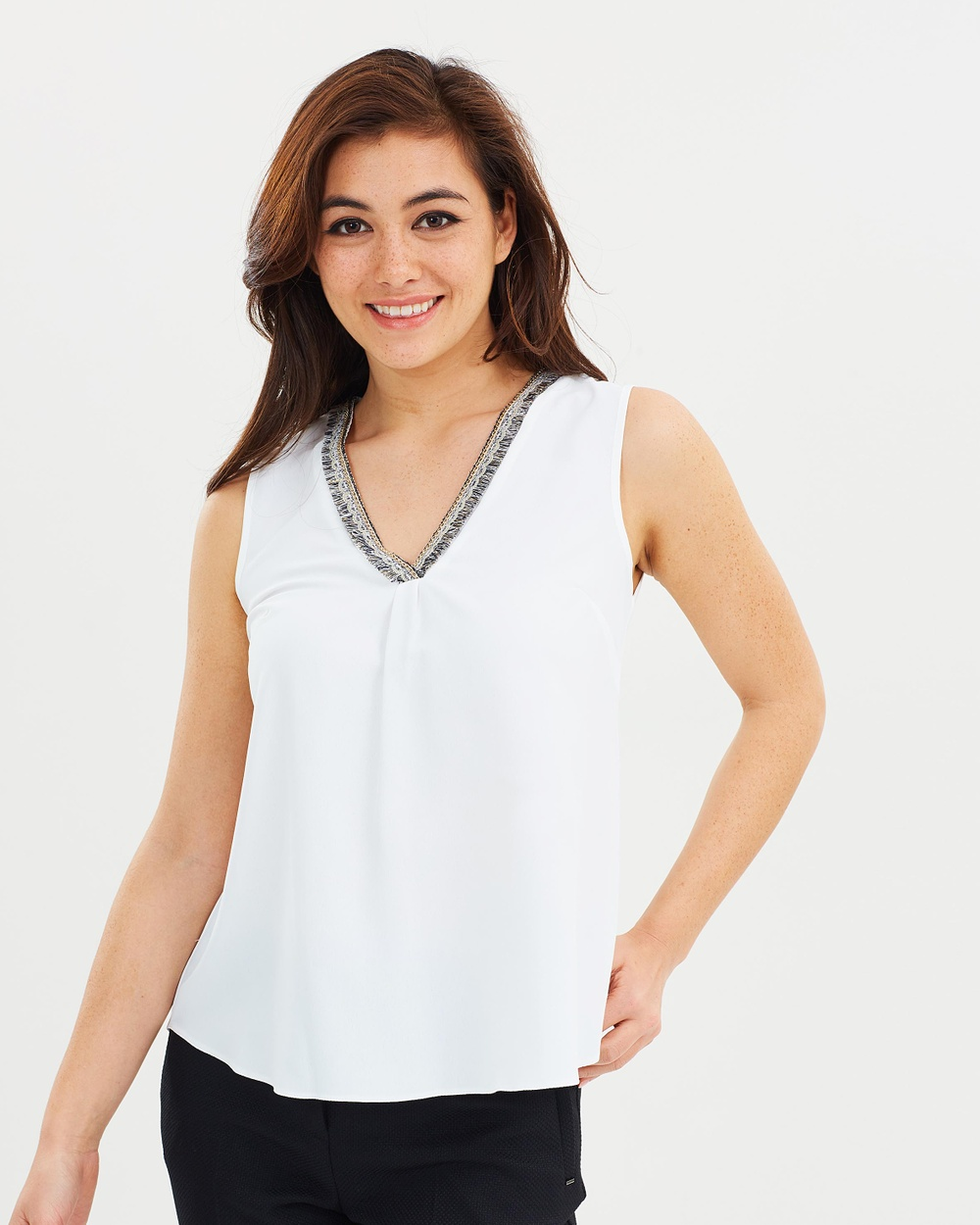 Dorothy Perkins Trim Detail Shell Top Tops Ivory Trim Detail Shell Top