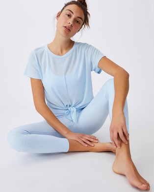 Cotton On Body Active Tie Up Rib T Shirt - Short Sleeve T-Shirts (Baby Blue)