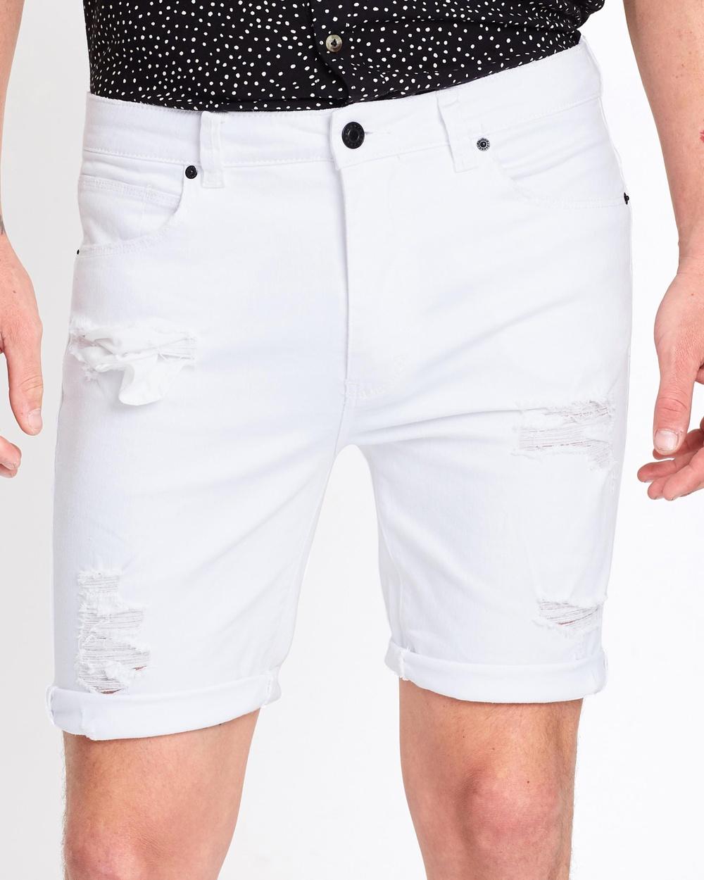 Abrand A Dropped Skinny Shorts Denim Rogue White