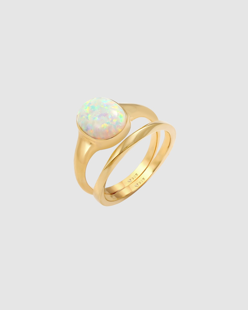 Elli Jewelry Ring Set Classic Opal Basic Twist in 925 Sterling Silver Gold Plated Jewellery Gold
