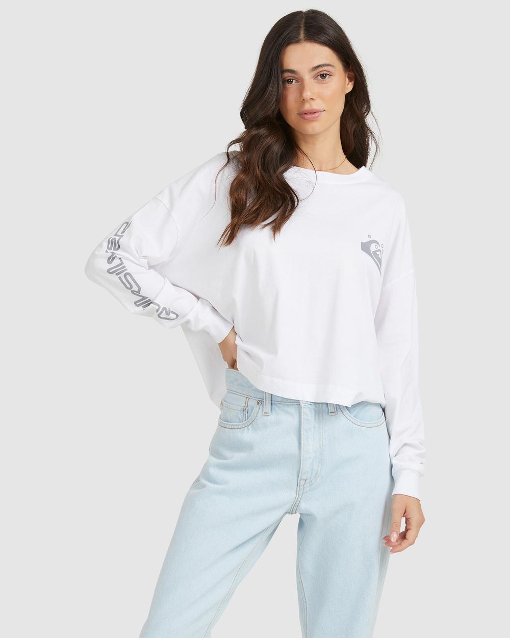 Quiksilver Womens Organic Oversized Crop Long Sleeve T Shirt T-Shirts White T-Shirt