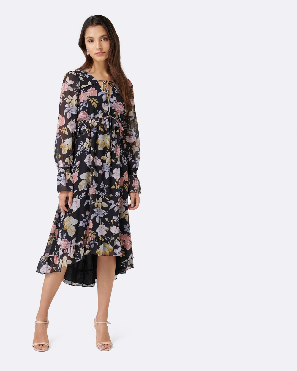 Forever New Nora Ruffle Waist Midi Dress Dresses Floral Print Nora Ruffle Waist Midi Dress
