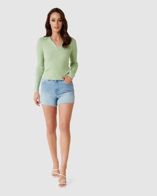 Forever New Solange Rib Polo Knit Jumper - Jumpers & Cardigans (Micro Green)