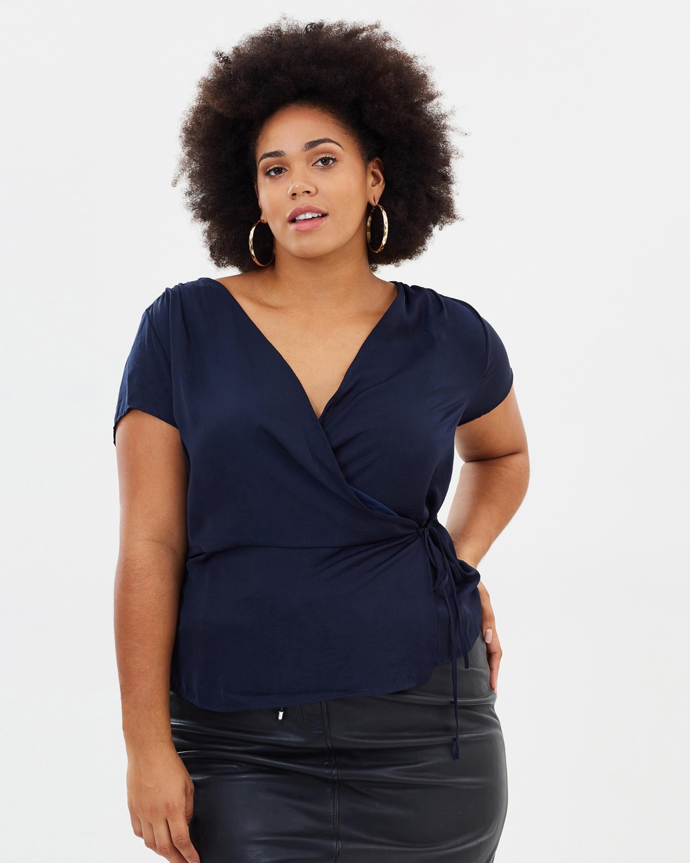 Violeta by MNG Larga Blouse Tops Navy Larga Blouse