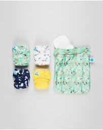 itti bitti - Bare Essentials One Size Fits Most Reusable Cloth Nappy & Double Pocket Wetbag 4-Pack