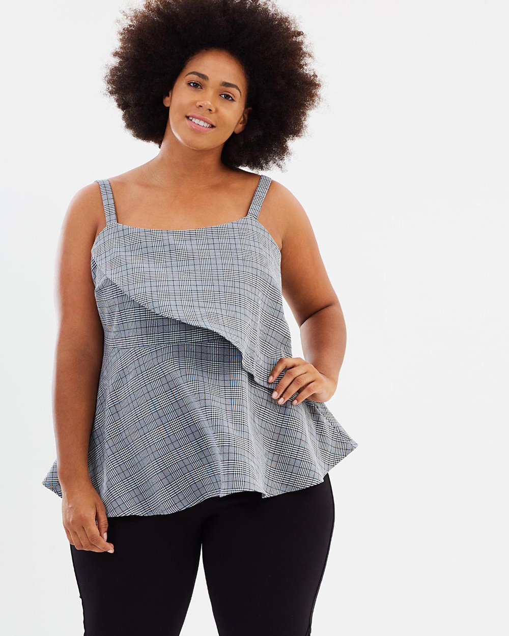 Atmos & Here Curvy ICONIC EXCLUSIVE Emerson Check Top Tops Check ICONIC EXCLUSIVE Emerson Check Top