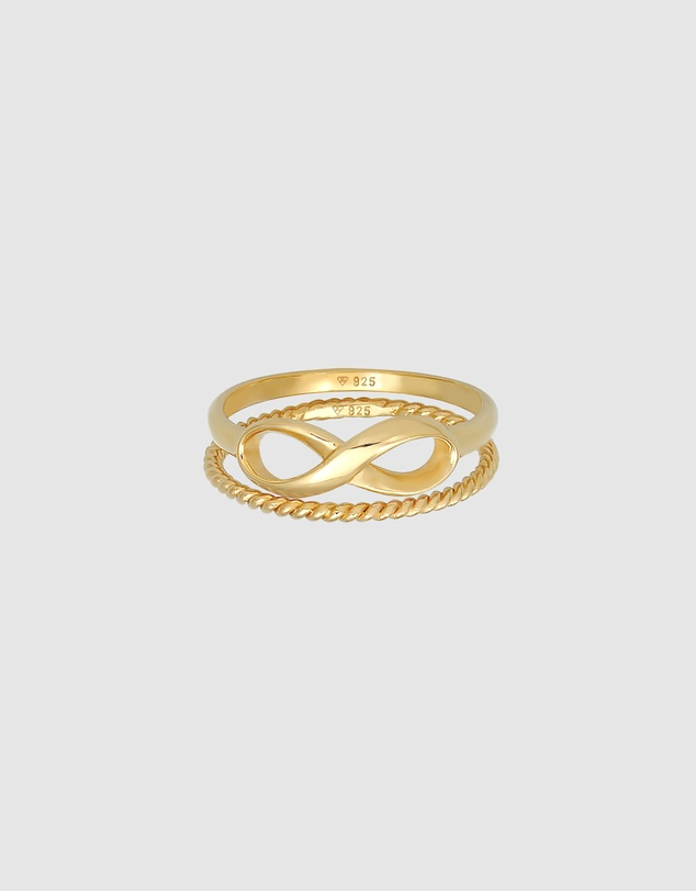 Women Ring Stacking Duo Infinity Twisted Trend in 925 Sterling Silver Gold Plated