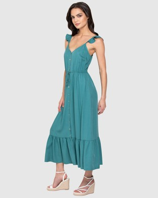 Forever New Amanda Frill Button Front Dress - Dresses (Teal)