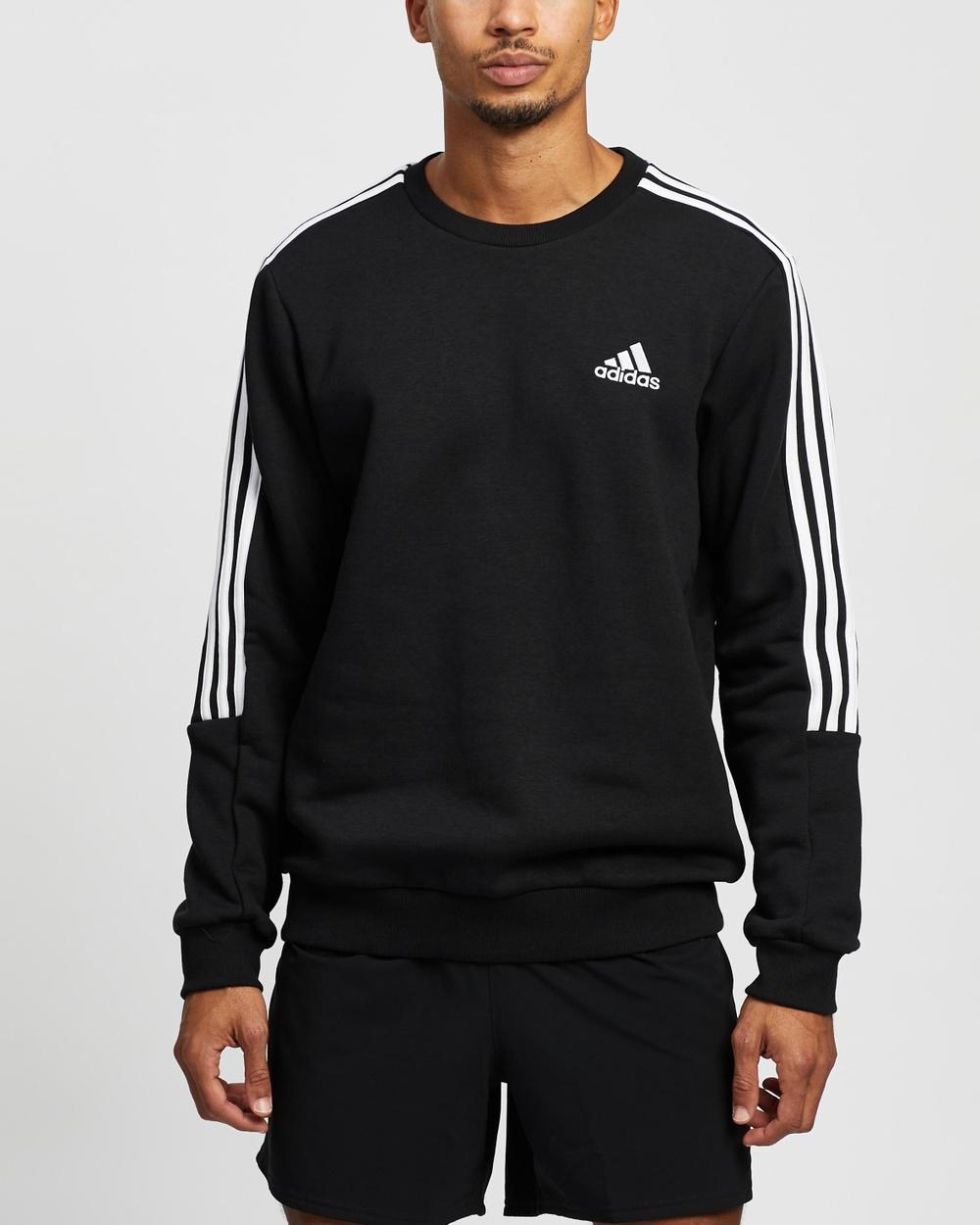 adidas Performance Cut 3 Stripe Sweatshirt Crew Necks Black & White 3-Stripe