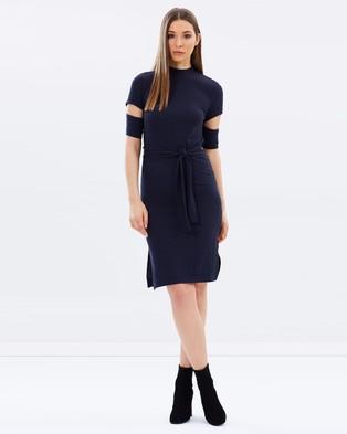 Lost Ink – Split Sleeve Tie Waist Dress – Dresses (Dark Navy)