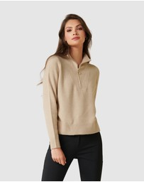 Forever New - Candice Half Zip Neck Knit Sweater