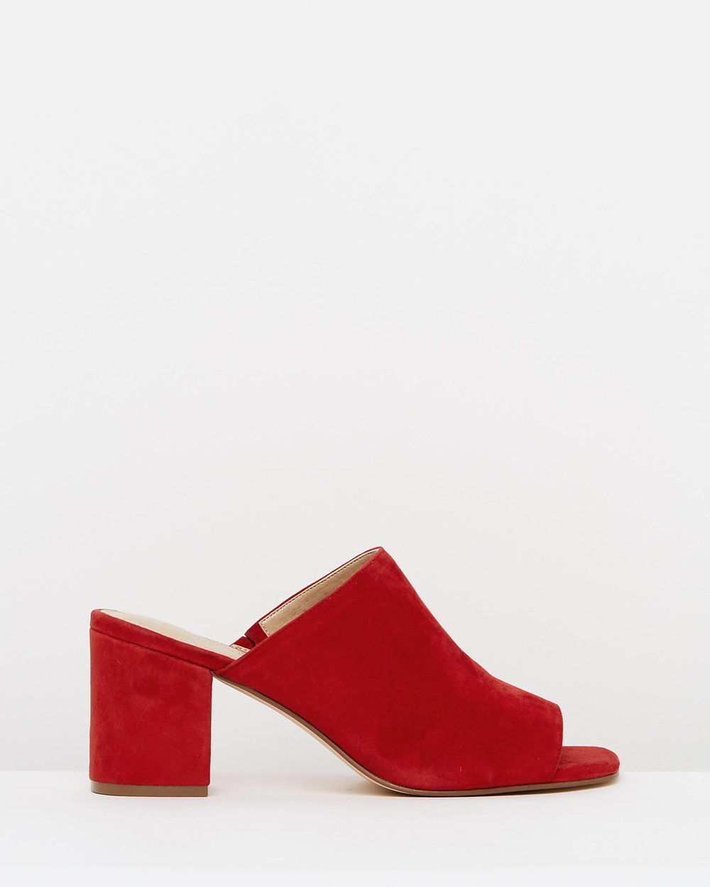 Atmos & Here ICONIC EXCLUSIVE Em Leather Mules Mid-low heels Red Suede ICONIC EXCLUSIVE Em Leather Mules