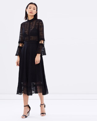 White Suede – Moscow Embroidery Dress – Dresses (Black)
