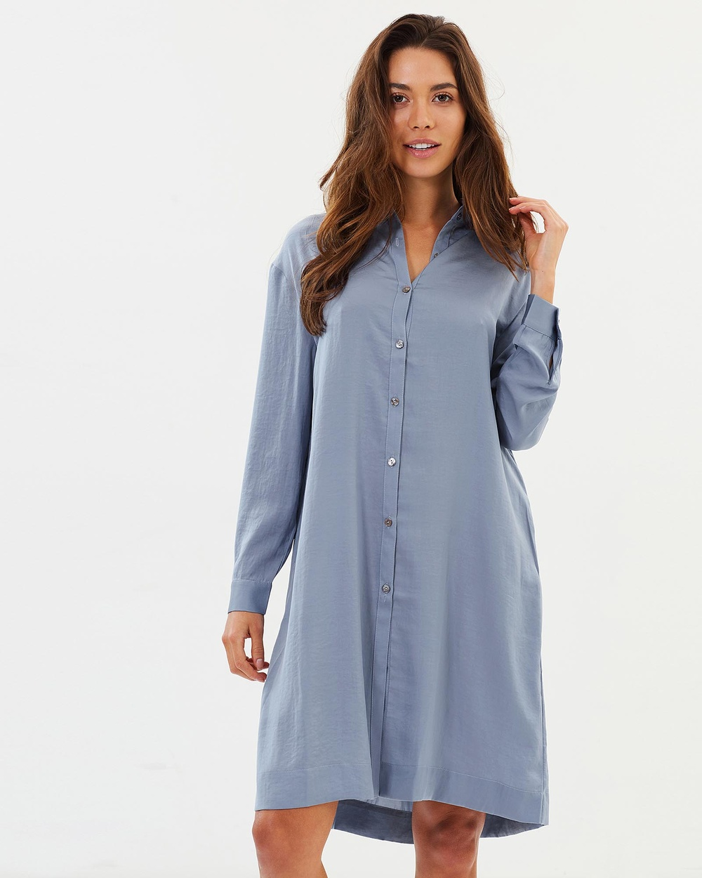 Privilege Primrose Lace Up Shirt Dress Dresses Dusty Blue Primrose Lace Up Shirt Dress