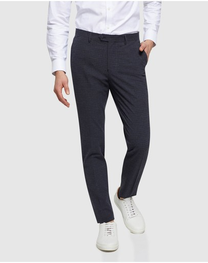 Oxford Stretch Checked Trousers Navy Check