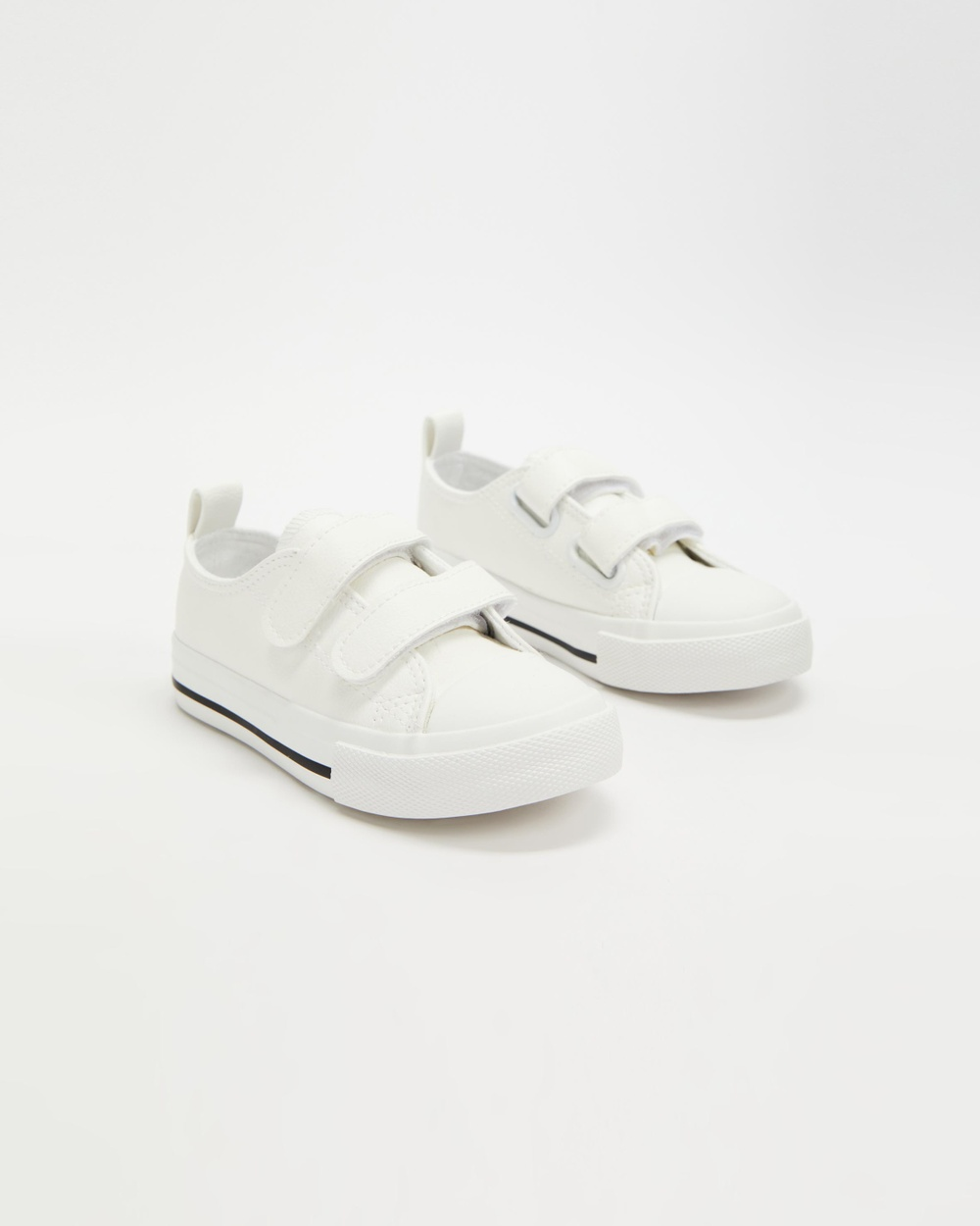 Cotton On Kids Classic Double Strap Trainers Slip-On Sneakers White Smooth