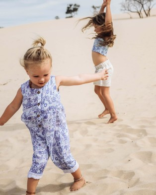 Amber Days Kuu Dreaming Linen Overalls - Jumpsuits & Playsuits (Blue)