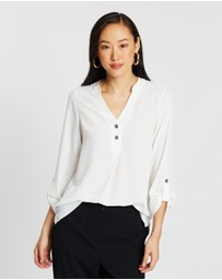 Dorothy Perkins - Double Button Collarless Roll Sleeve Shirt