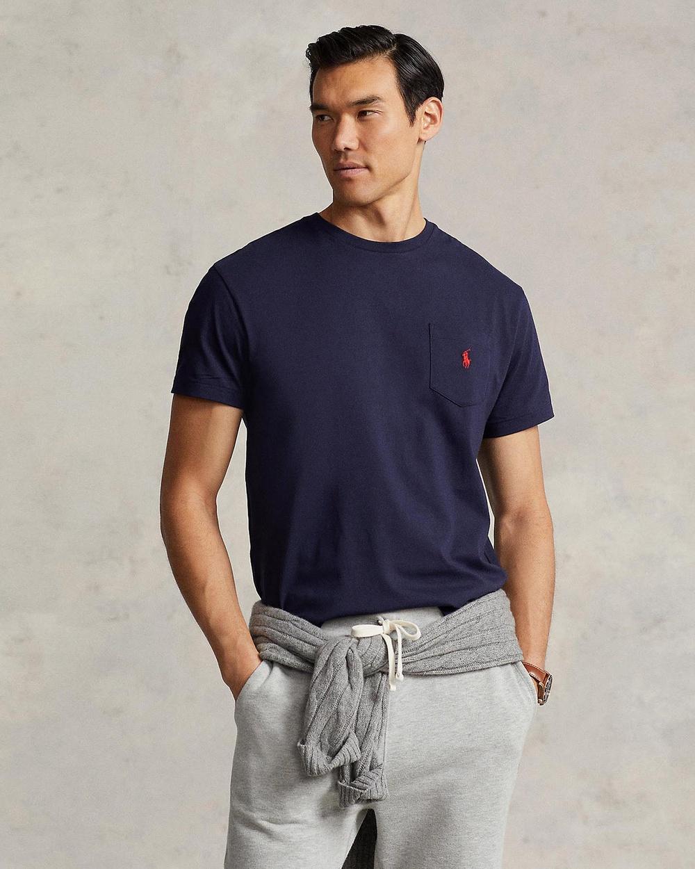 Polo Ralph Lauren - Classic Fit Crew Neck Pocket Tee - T-Shirts & Singlets (Navy) Classic Fit Crew Neck Pocket Tee