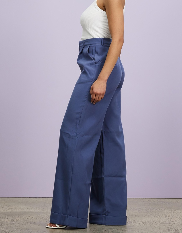 Women Tailored Masculine Trousers Turn Up