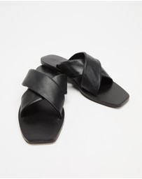 AERE - Crossover Leather Slides