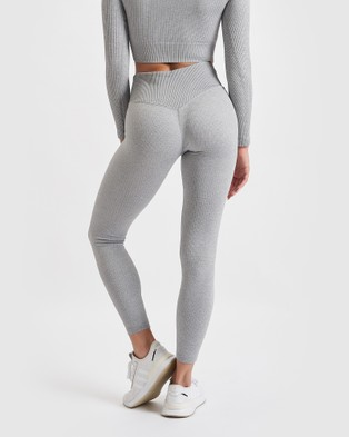 Core Trainer Paris Ribbed Tights - Sports Tights (Grey)