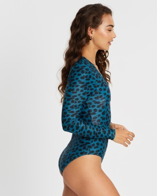 Duskii Oc??ane Sleek Long Sleeve One Piece - One-Piece / Swimsuit (Leopard Teal)