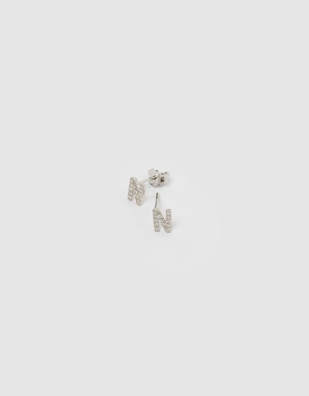 Women Alphabet Mini Letter N Stud Earrings Silver