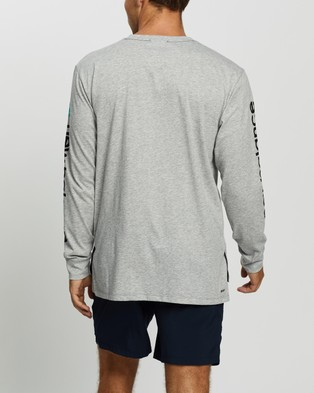 New Balance R.W.T. Graphic Long Sleeve Heathertech Tee - Long Sleeve T-Shirts (Athletic Grey)