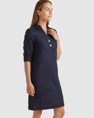 Sportscraft Chloe Linen Dress - Dresses (blue)