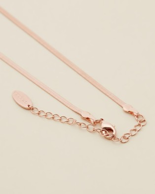 Orelia London Flat Snake Chain Necklace Jewellery Rose Gold