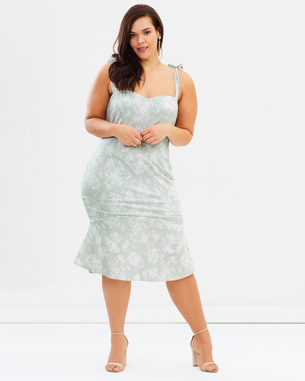 Atmos & Here Curvy ICONIC EXCLUSIVE Dallas Midi Dress Dresses Mint Floral ICONIC EXCLUSIVE Dallas Midi Dress