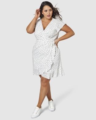 Sunday In The City - Framed Frill Dress - Printed Dresses (White) Framed Frill Dress