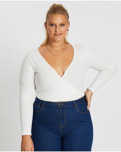 Mika Muse Long Sleeve Wrap Top White