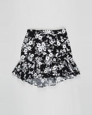 Decjuba Kids Lily Wrap Skirt   Kids Teens - Skirts (Monotone Floral)