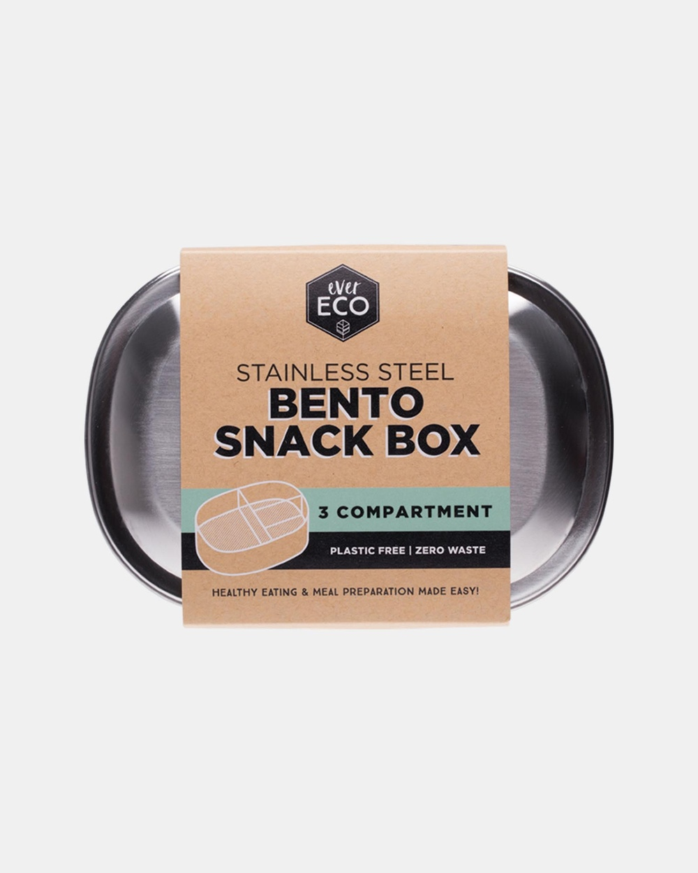 Ever Eco Stainless Steel Bento Snack Box 3 Compartments 580ml Stainless Steel