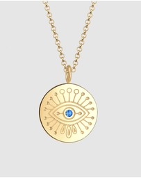 Elli Jewelry - Necklace Evil Eye Circle Swarovski Crystals 925 Silver Gold Plated
