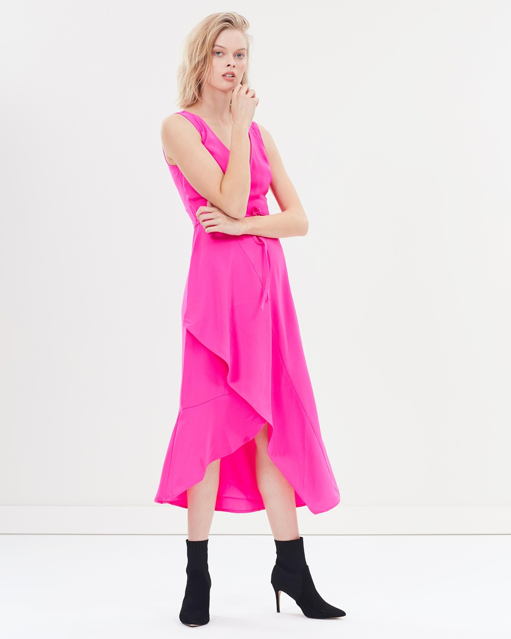 Warehouse Wrap Asymmetric Dress Dresses Pink Wrap Asymmetric Dress