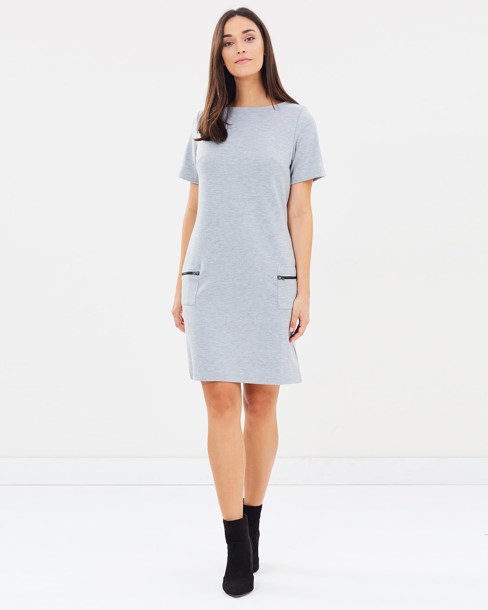 Dorothy Perkins Zip Pocket Shift Dress Dresses Grey Zip Pocket Shift Dress