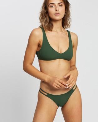 Volcom Simply Rib V Neck Bikini Top - Bikini Set (Green)