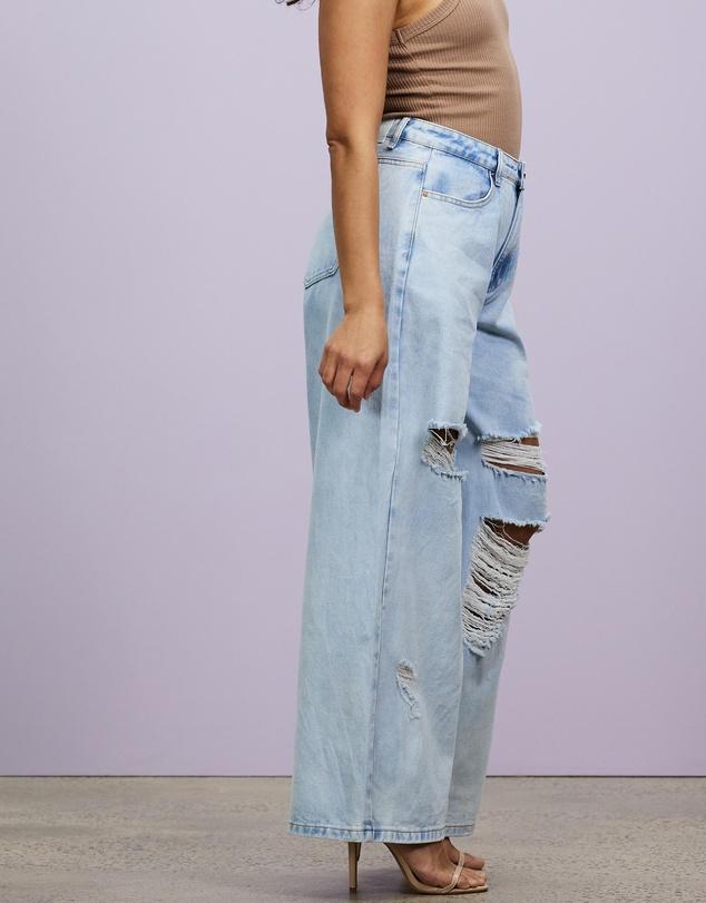 Women Petite Super Shredded Baggy Boyfriend Jeans