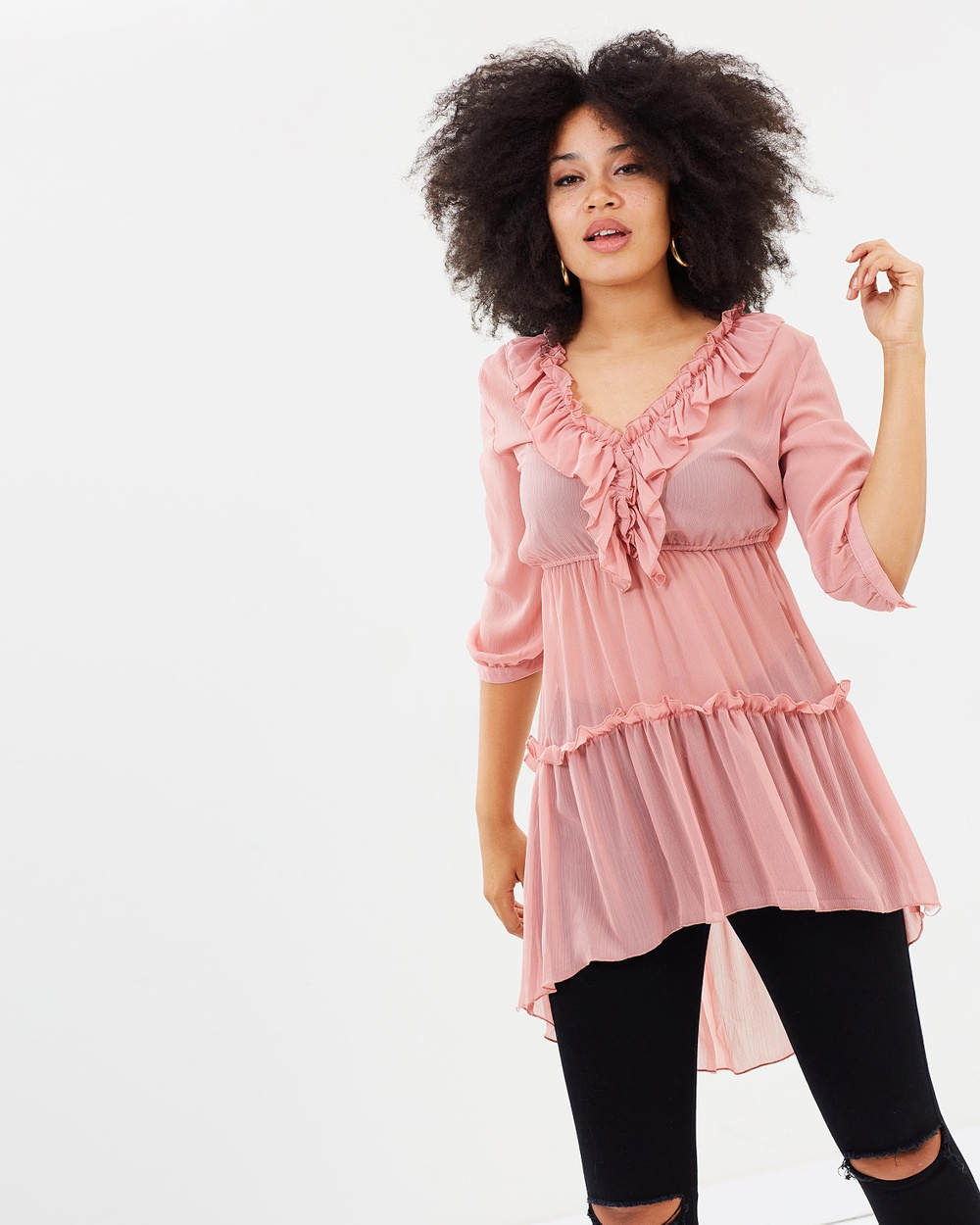 Missguided Chiffon Frill Detail Drouser Tops Pink Chiffon Frill Detail Drouser