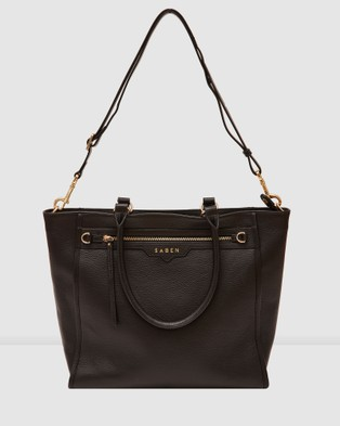 Saben Mackenzie Leather Tote - Handbags (Black)