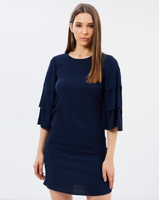 Vero Moda – Bea Three Quarter Sleeve Short Dress Navy Blazer