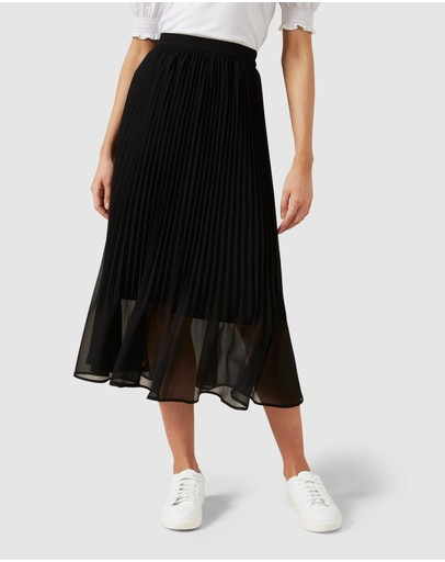 French Connection Sunray Pleated Midi Skirt Black