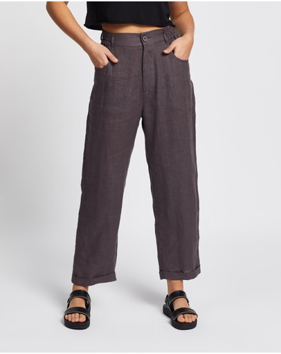 Aere Casual Linen Pants Charcoal