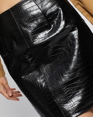 Glamorous Faux Leather Croc Skirt - Skirts (Black Croc)