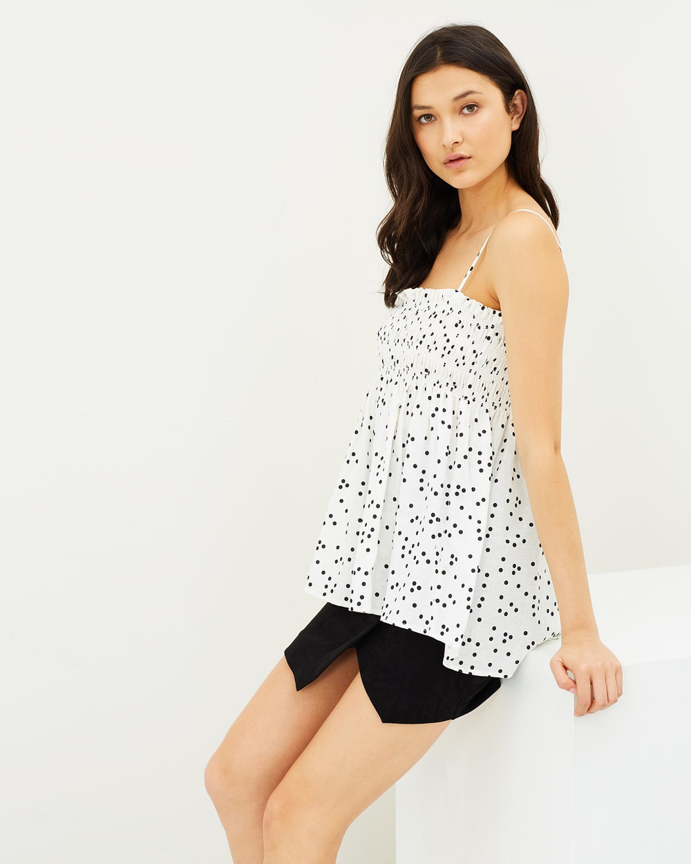 IMONNI Heaven Linen Cotton Camisole Tops Ivory & Black Sport Print Heaven Linen Cotton Camisole