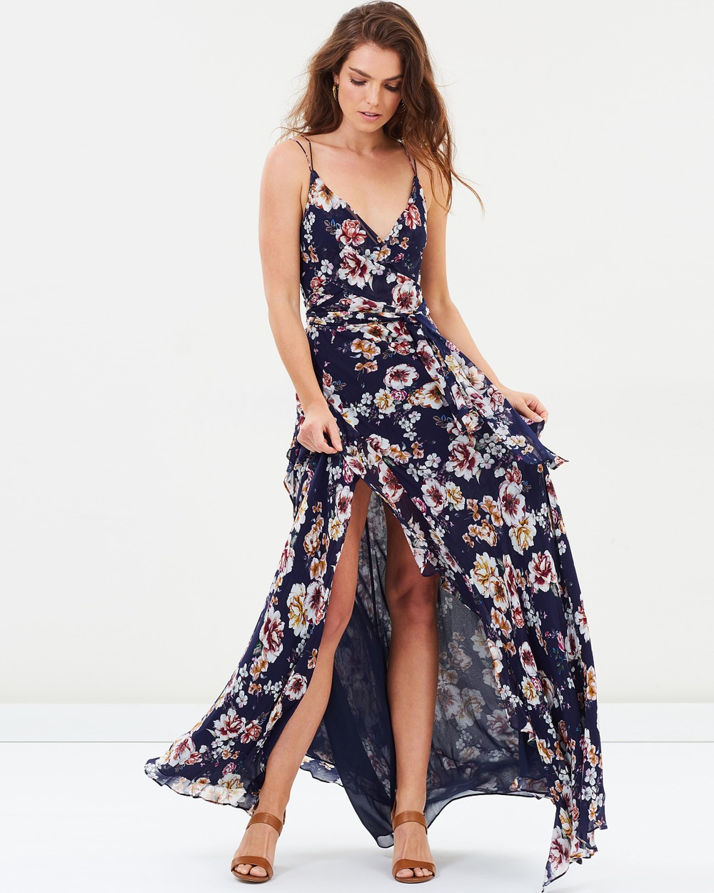 Nicholas Garden Rose Tie Front Maxi Dress Printed Dresses Navy Garden Rose Tie Front Maxi Dress